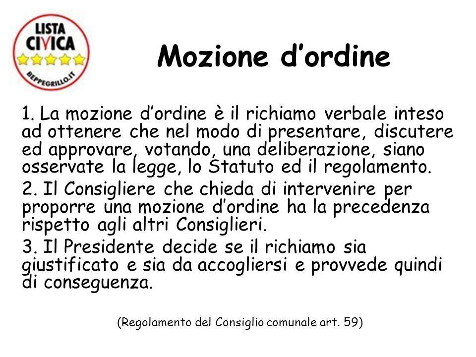 (Regolamento del Consiglio comunale art. 59)