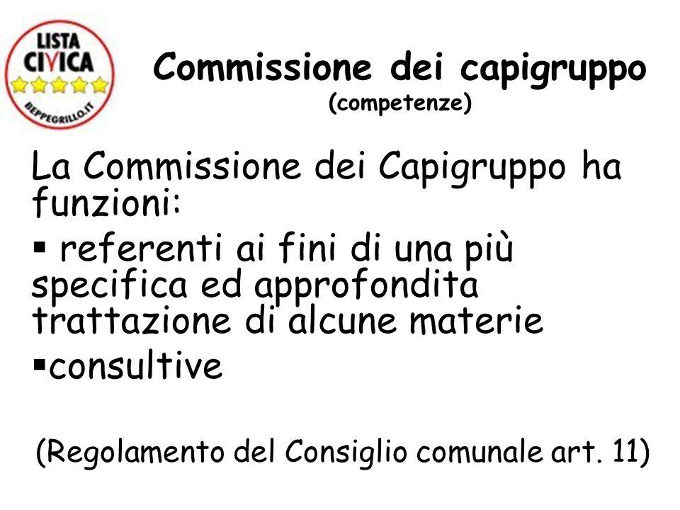 Commissione dei capigruppo (competenze)