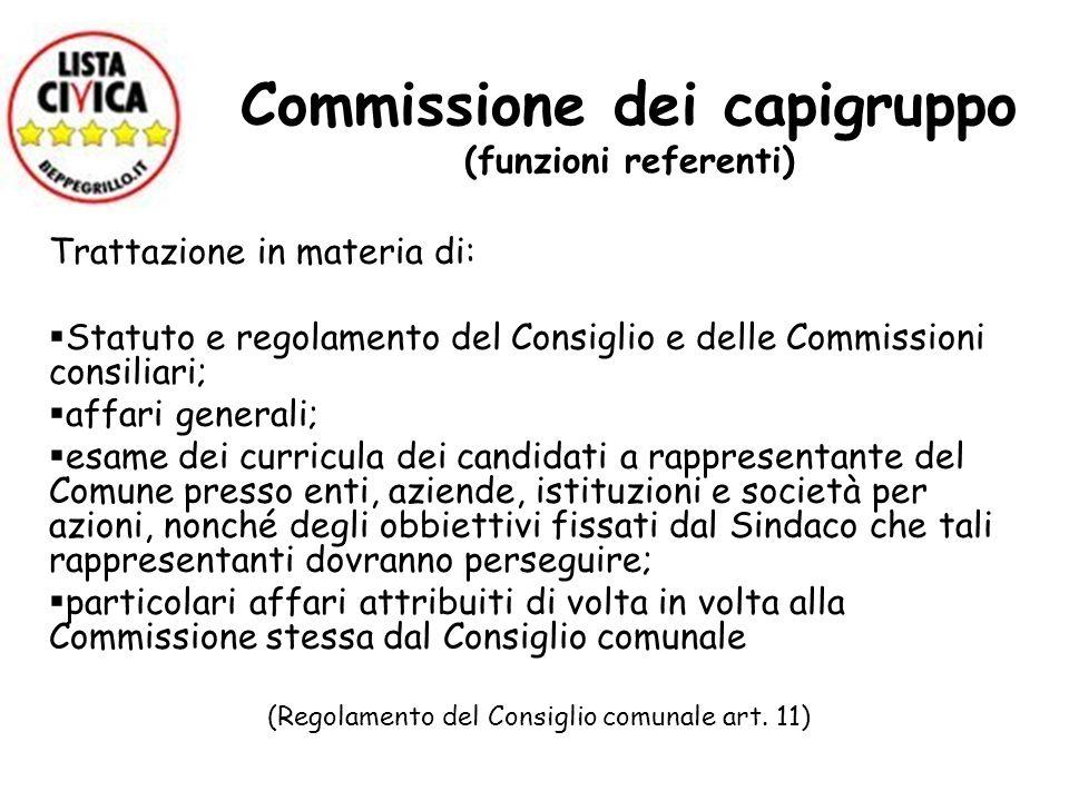 Commissione dei capigruppo (funzioni referenti)