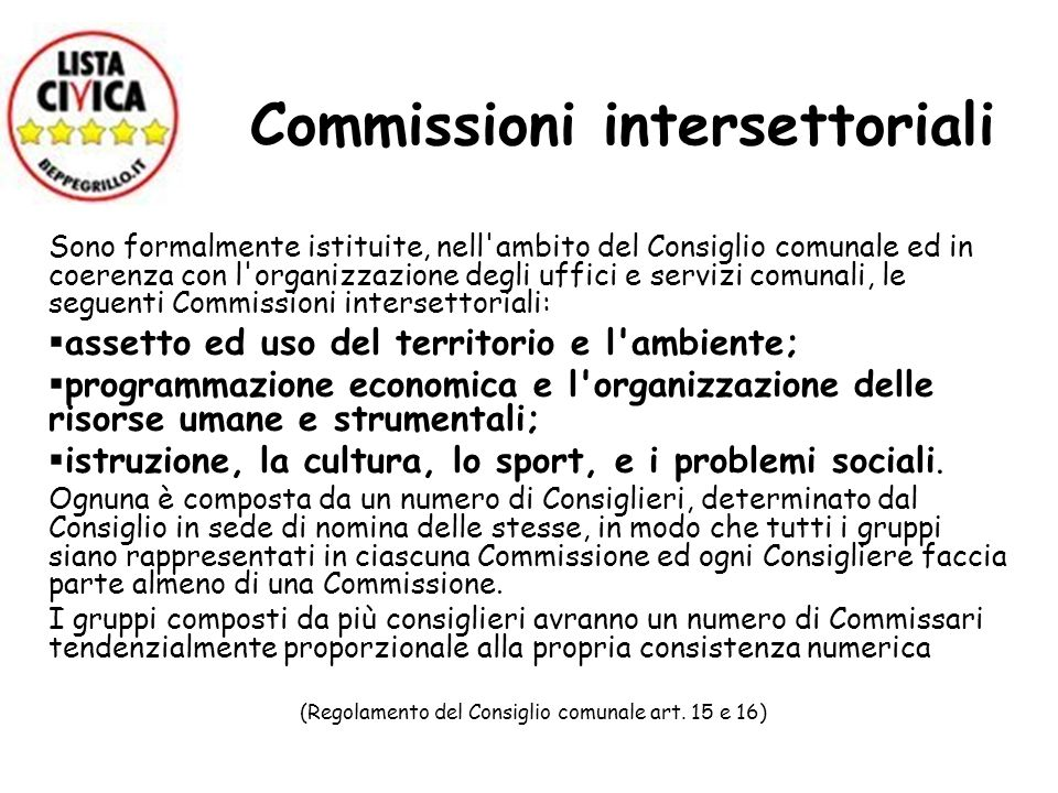Commissioni intersettoriali