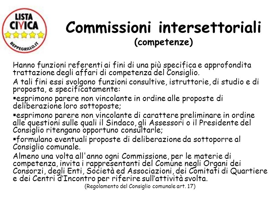 Commissioni intersettoriali (competenze)