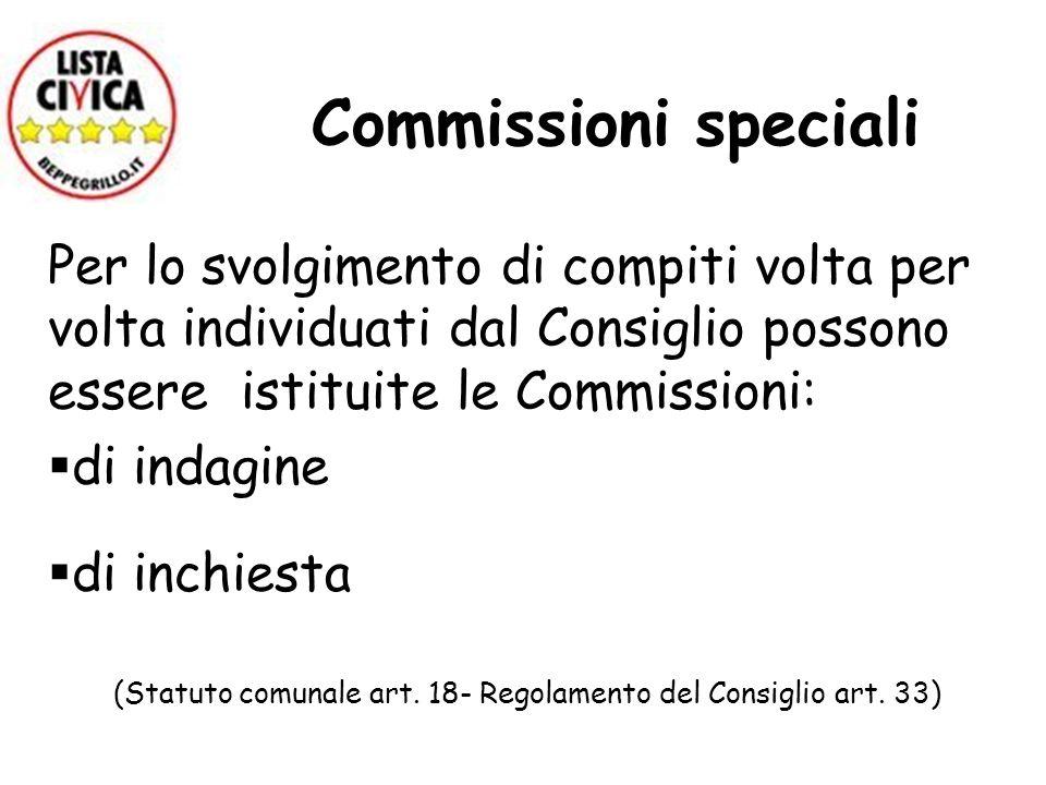 (Statuto comunale art. 18- Regolamento del Consiglio art. 33)