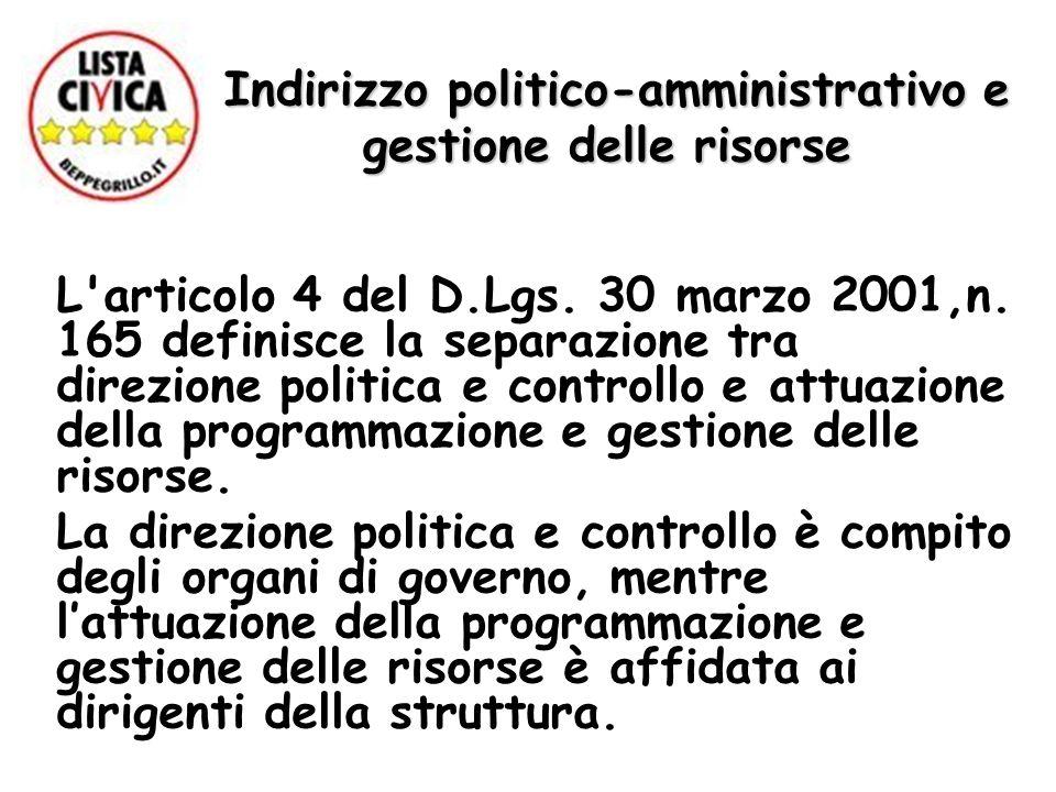 Indirizzo politico-amministrativo e gestione delle risorse