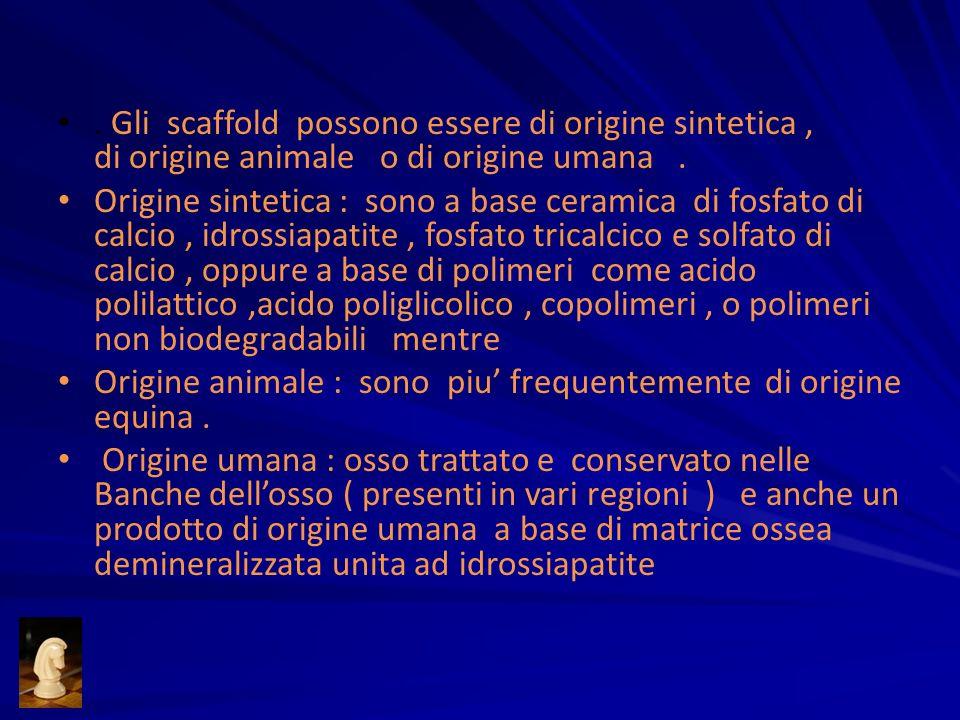 . Gli scaffold possono essere di origine sintetica , di origine animale o di origine umana .