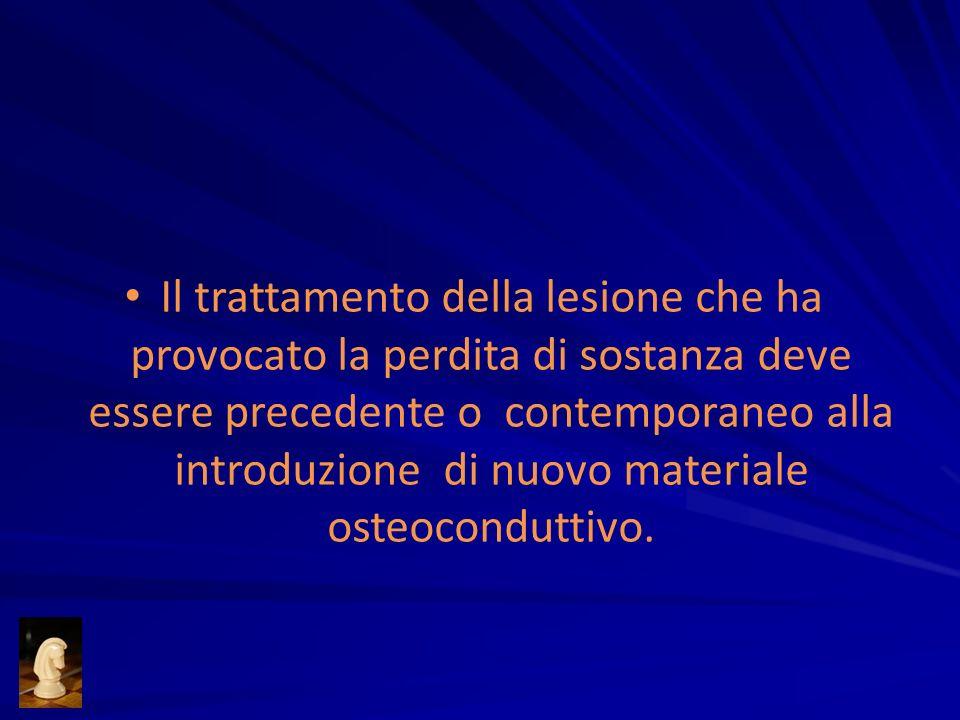 Il trattamento della lesione che ha provocato la perdita di sostanza deve essere precedente o contemporaneo alla introduzione di nuovo materiale osteoconduttivo.
