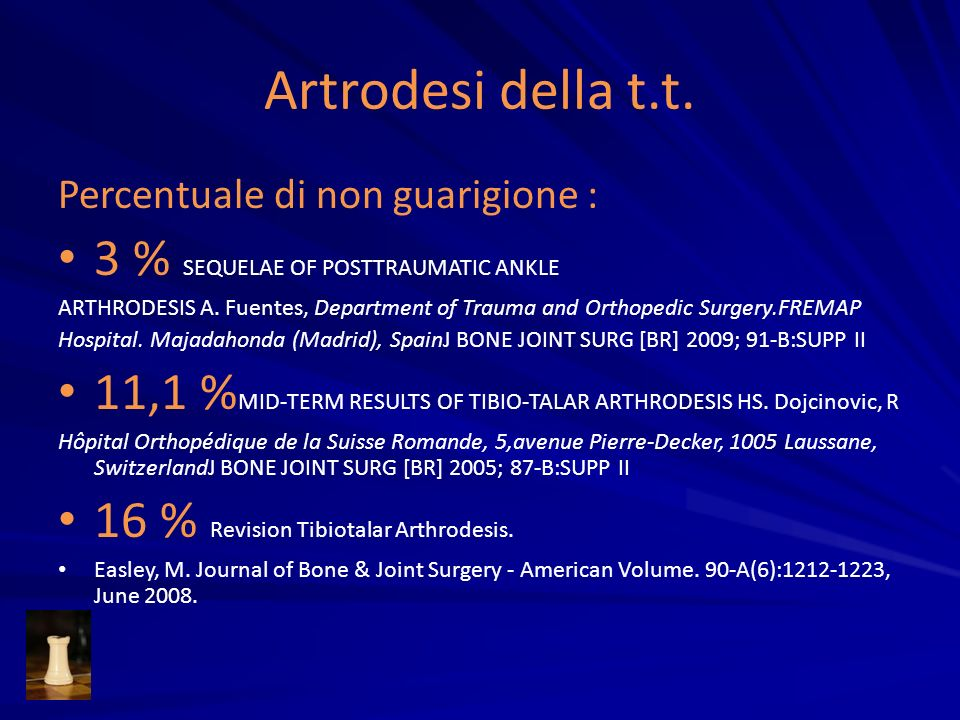 Artrodesi della t.t. 3 % SEQUELAE OF POSTTRAUMATIC ANKLE