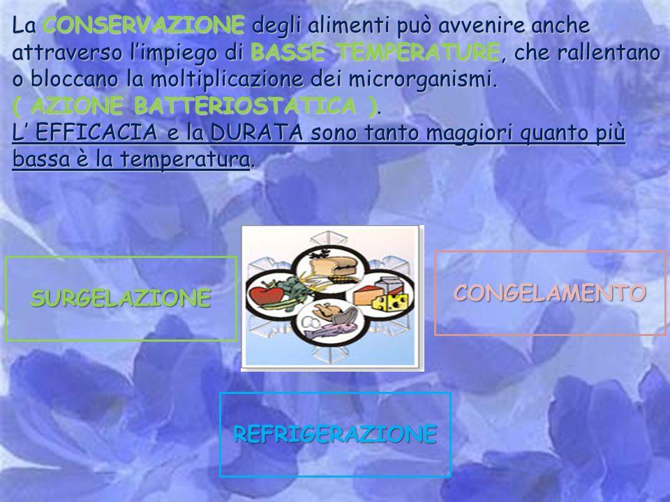 La CONSERVAZIONE degli alimenti può avvenire anche attraverso l'impiego di BASSE TEMPERATURE, che rallentano o bloccano la moltiplicazione dei microrganismi.