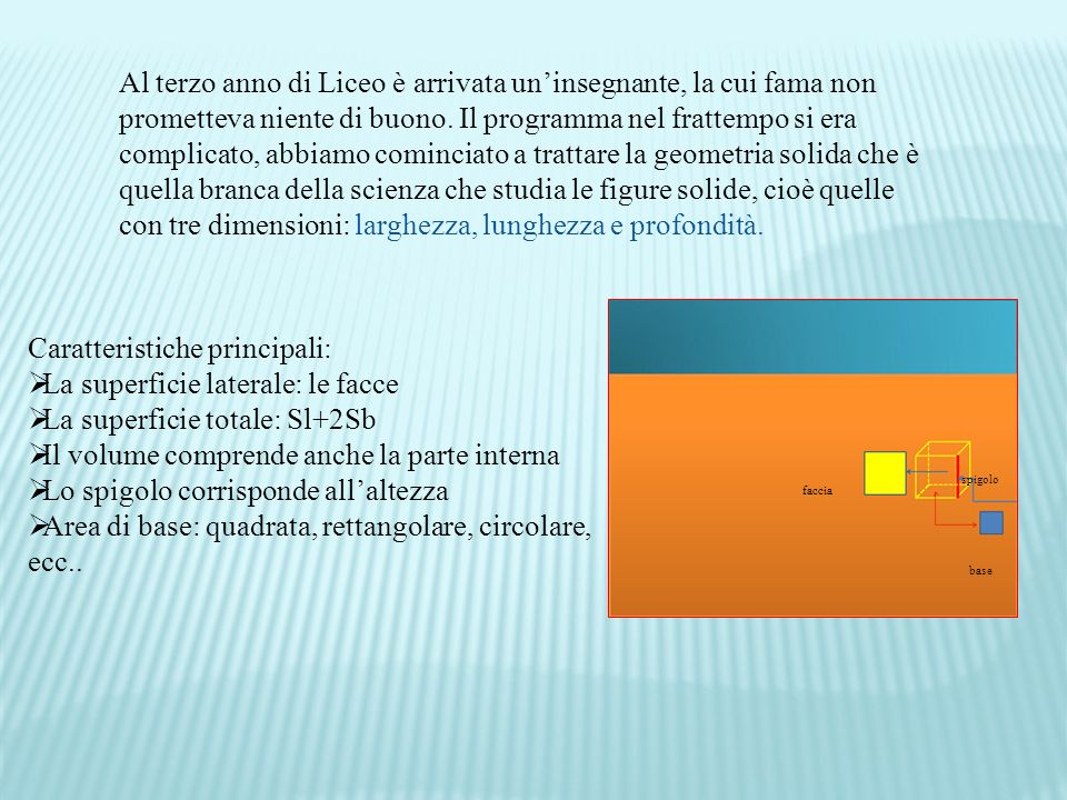 Caratteristiche principali: La superficie laterale: le facce