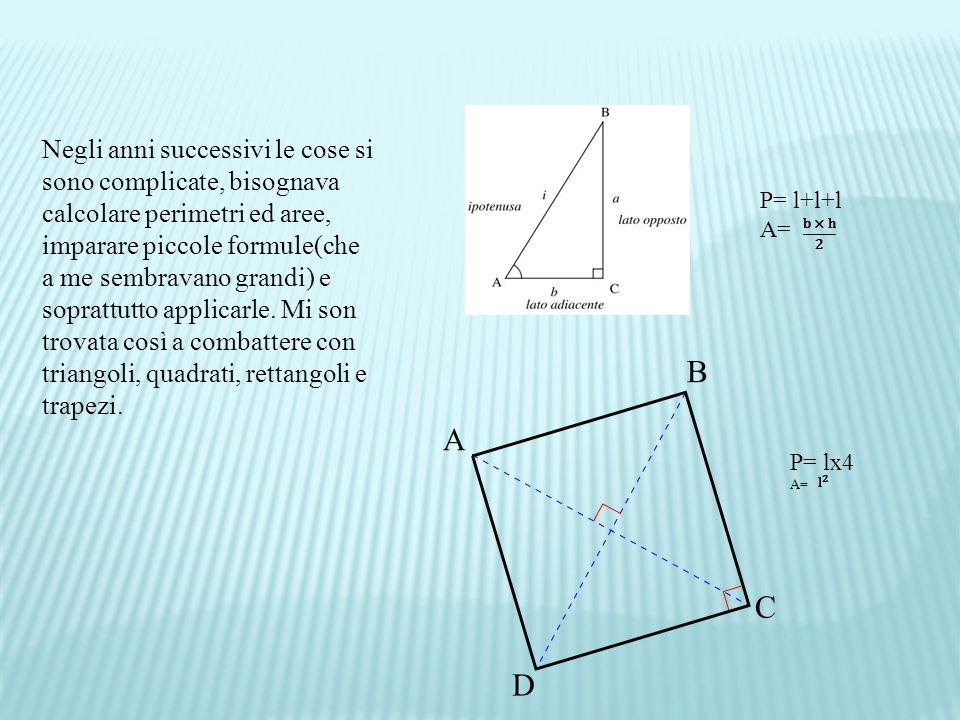 Negli anni successivi le cose si sono complicate, bisognava calcolare perimetri ed aree, imparare piccole formule(che a me sembravano grandi) e soprattutto applicarle. Mi son trovata così a combattere con triangoli, quadrati, rettangoli e trapezi.