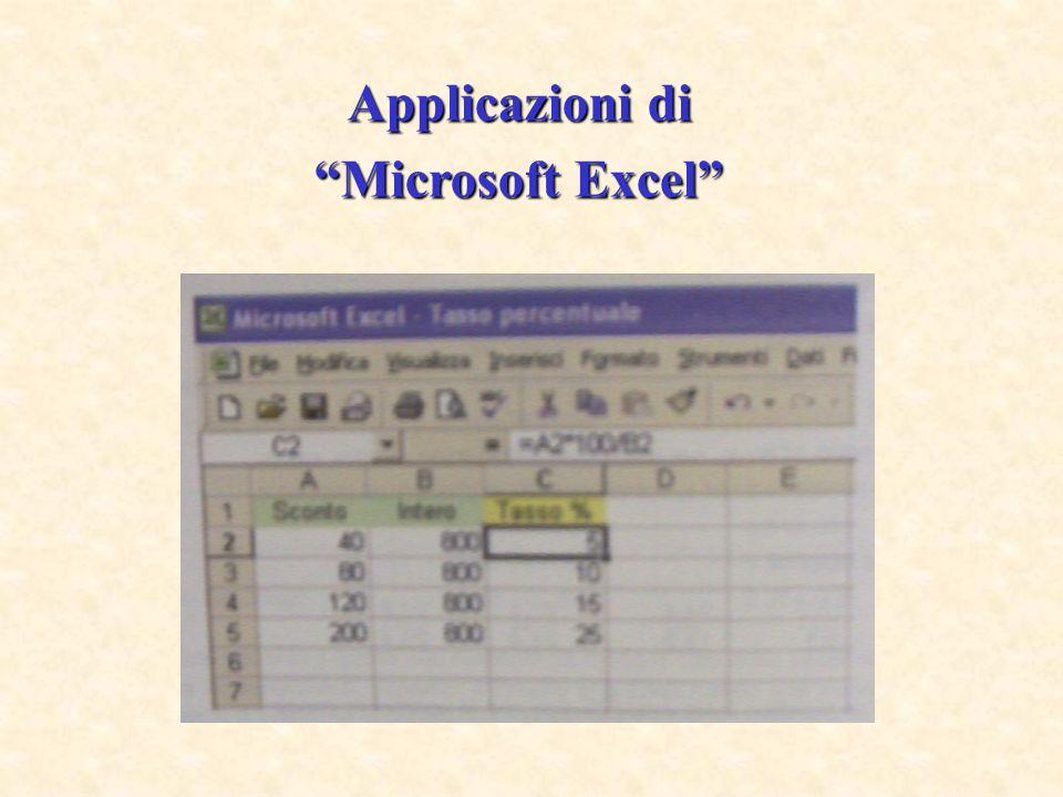 Applicazioni di Microsoft Excel