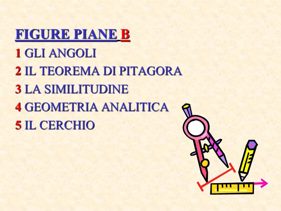 FIGURE PIANE B 1 GLI ANGOLI 2 IL TEOREMA DI PITAGORA 3 LA SIMILITUDINE