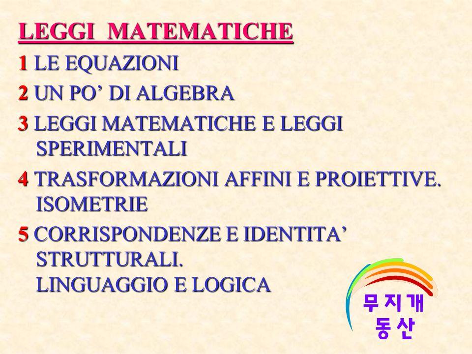 LEGGI MATEMATICHE 1 LE EQUAZIONI 2 UN PO' DI ALGEBRA