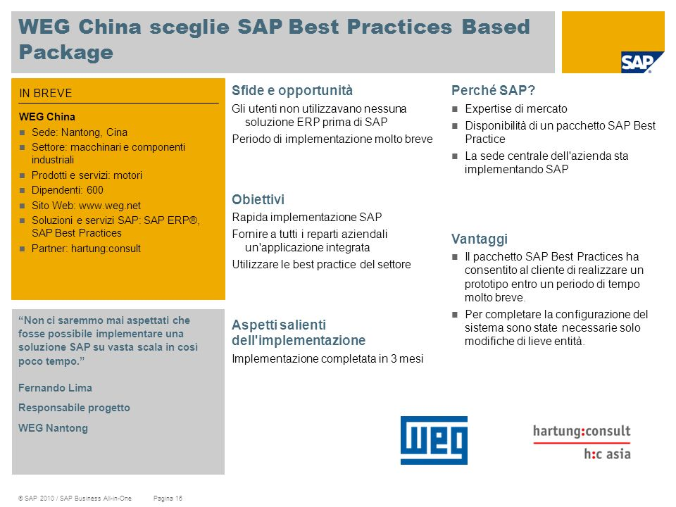 WEG China sceglie SAP Best Practices Based Package