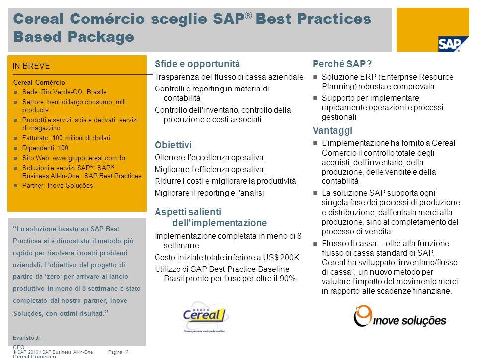 Cereal Comércio sceglie SAP® Best Practices Based Package