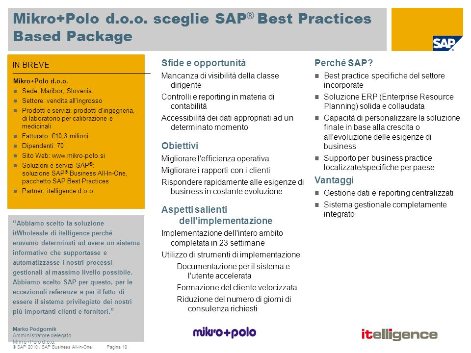 Mikro+Polo d.o.o. sceglie SAP® Best Practices Based Package