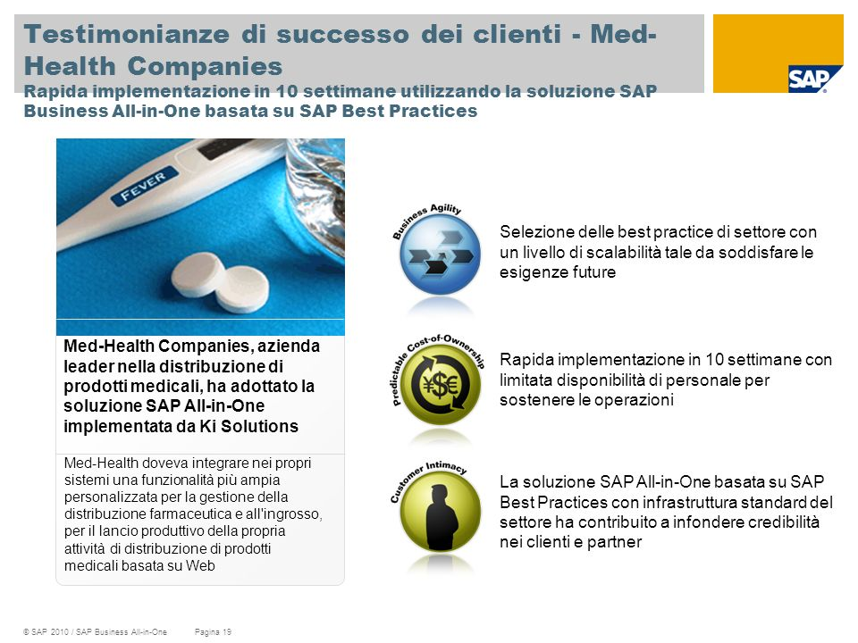 Testimonianze di successo dei clienti - Med-Health Companies Rapida implementazione in 10 settimane utilizzando la soluzione SAP Business All-in-One basata su SAP Best Practices