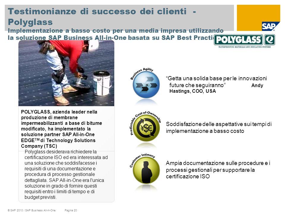 Testimonianze di successo dei clienti - Polyglass Implementazione a basso costo per una media impresa utilizzando la soluzione SAP Business All-in-One basata su SAP Best Practices