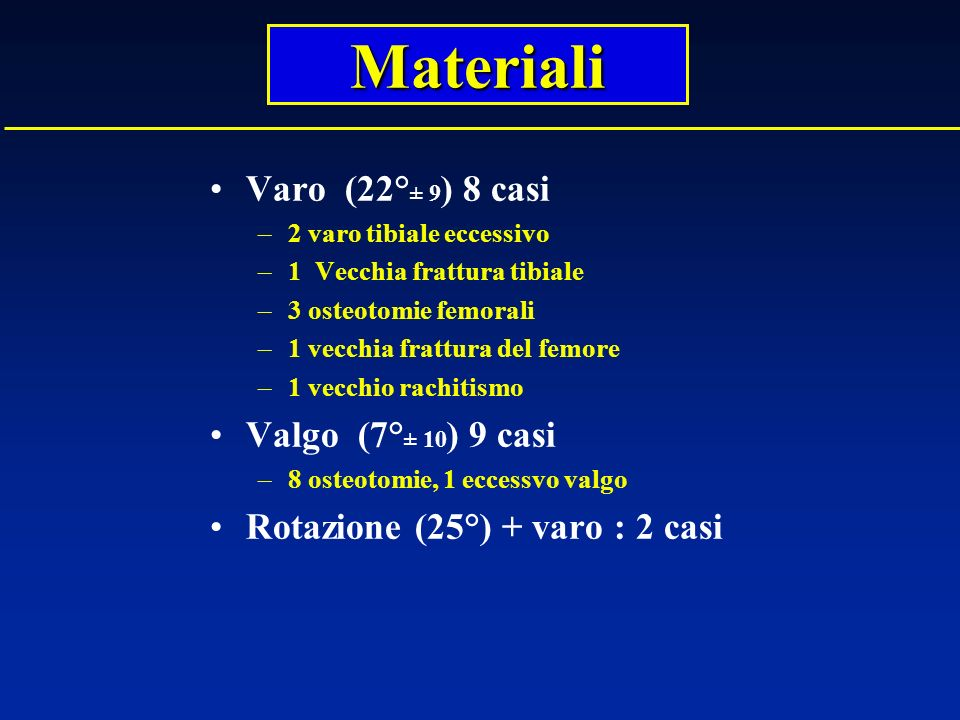 Materiali Varo (22°± 9) 8 casi Valgo (7°± 10) 9 casi