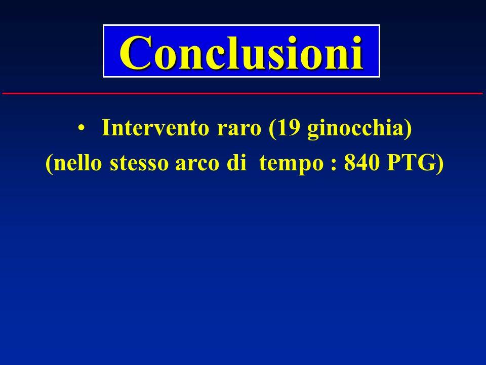 Intervento raro (19 ginocchia) (nello stesso arco di tempo : 840 PTG)