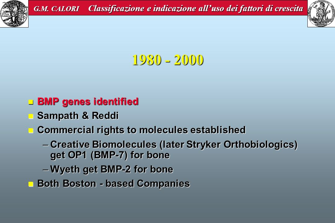 1980 - 2000 BMP genes identified Sampath & Reddi