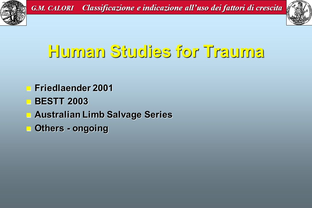 Human Studies for Trauma
