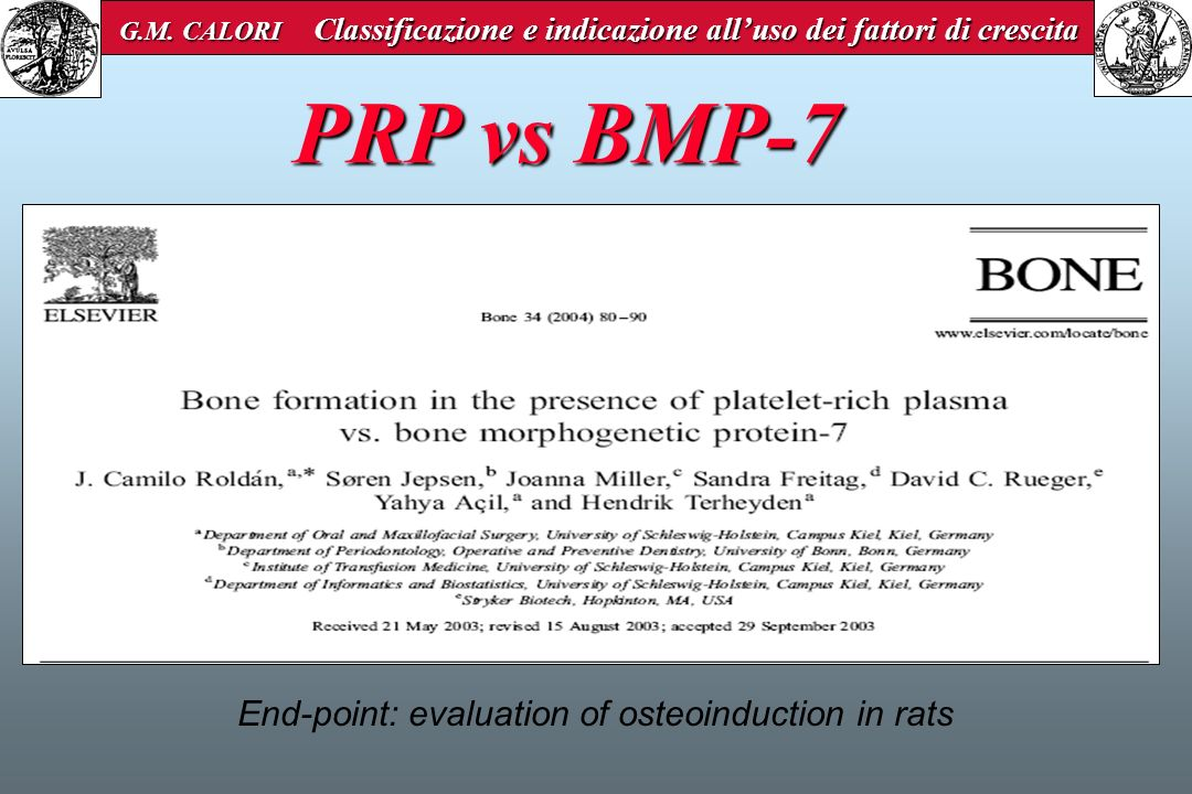 End-point: evaluation of osteoinduction in rats