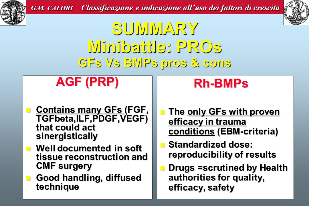 SUMMARY Minibattle: PROs GFs Vs BMPs pros & cons