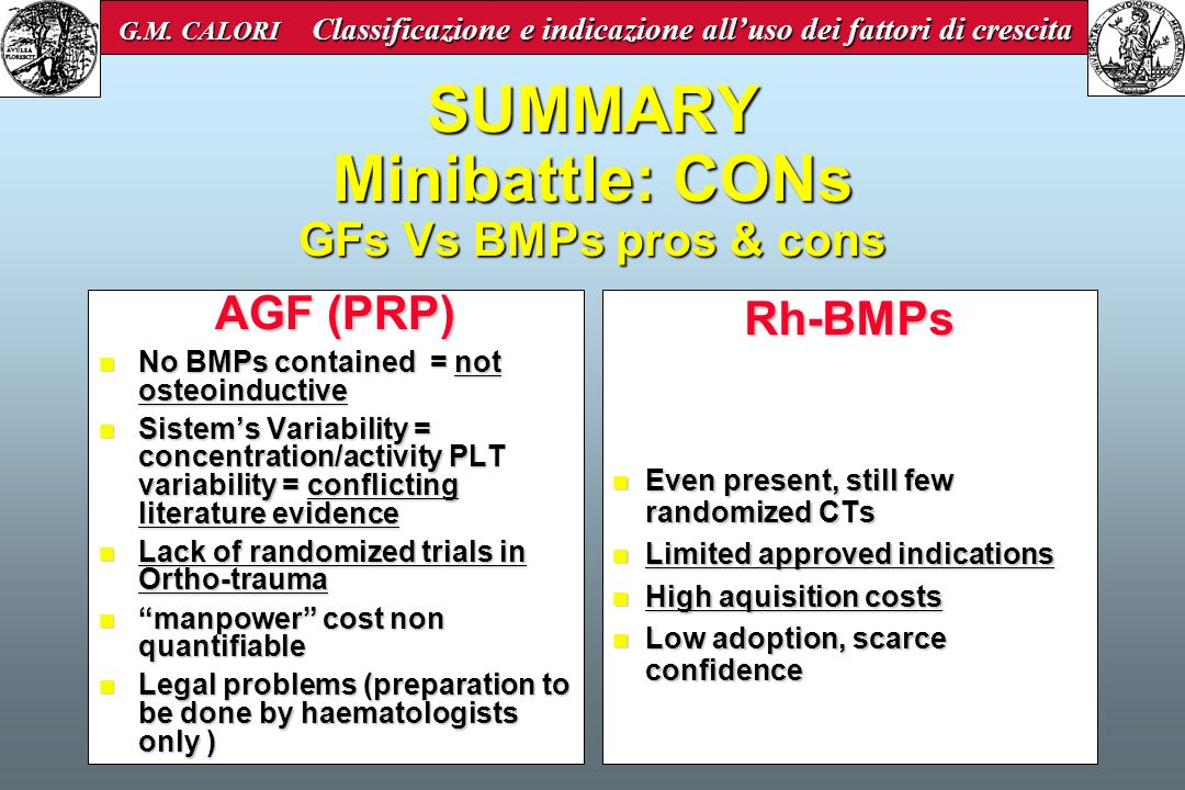 SUMMARY Minibattle: CONs GFs Vs BMPs pros & cons