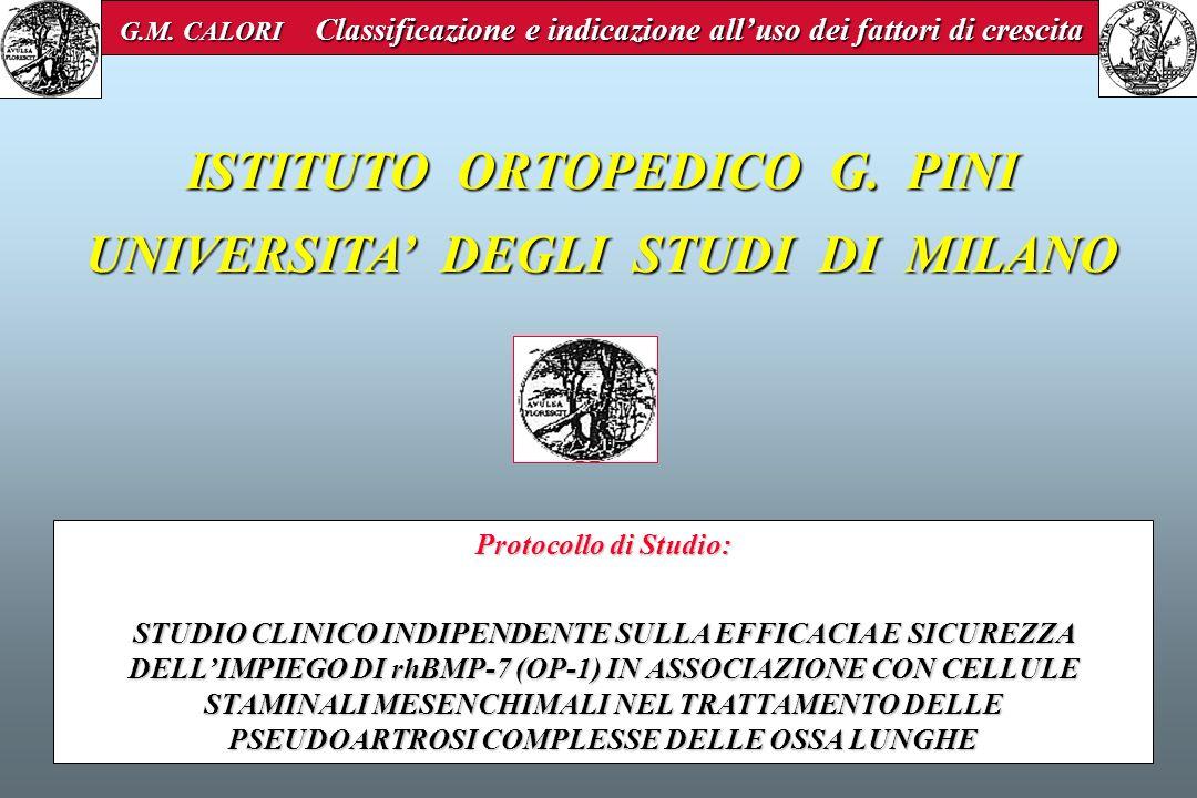 ISTITUTO ORTOPEDICO G. PINI UNIVERSITA' DEGLI STUDI DI MILANO