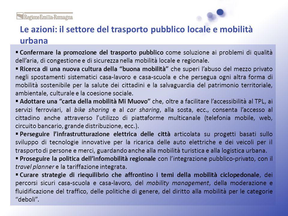 Le azioni: il settore del trasporto pubblico locale e mobilità urbana
