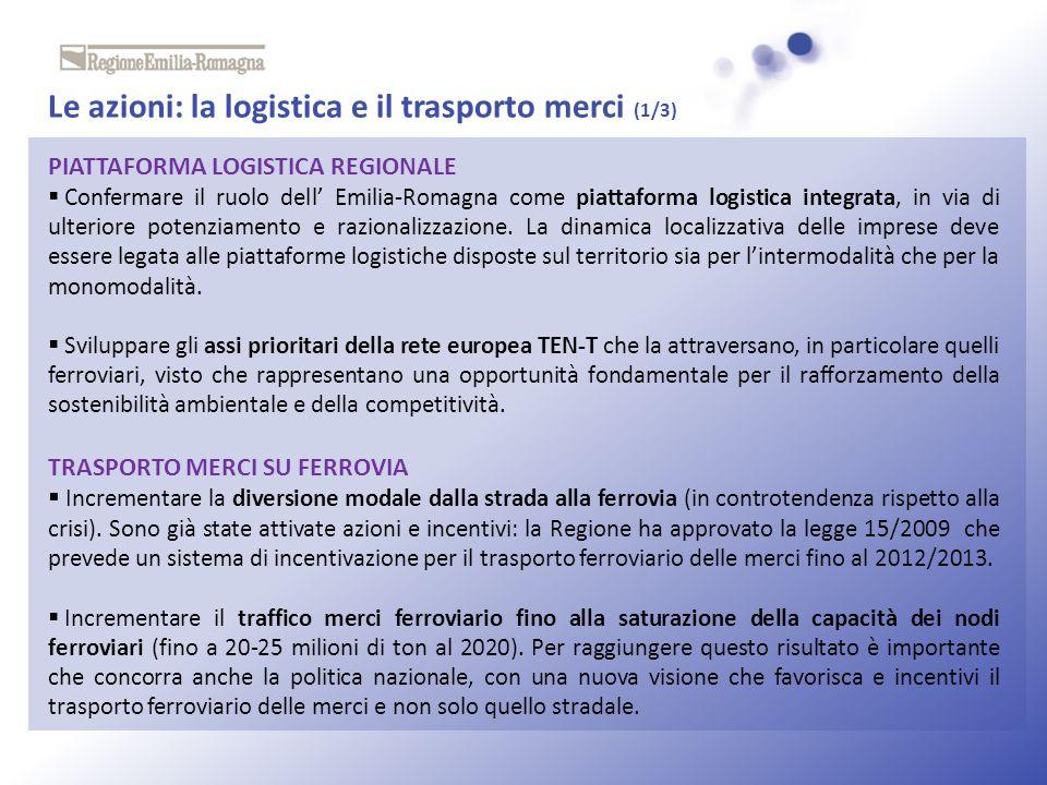 Le azioni: la logistica e il trasporto merci (1/3)