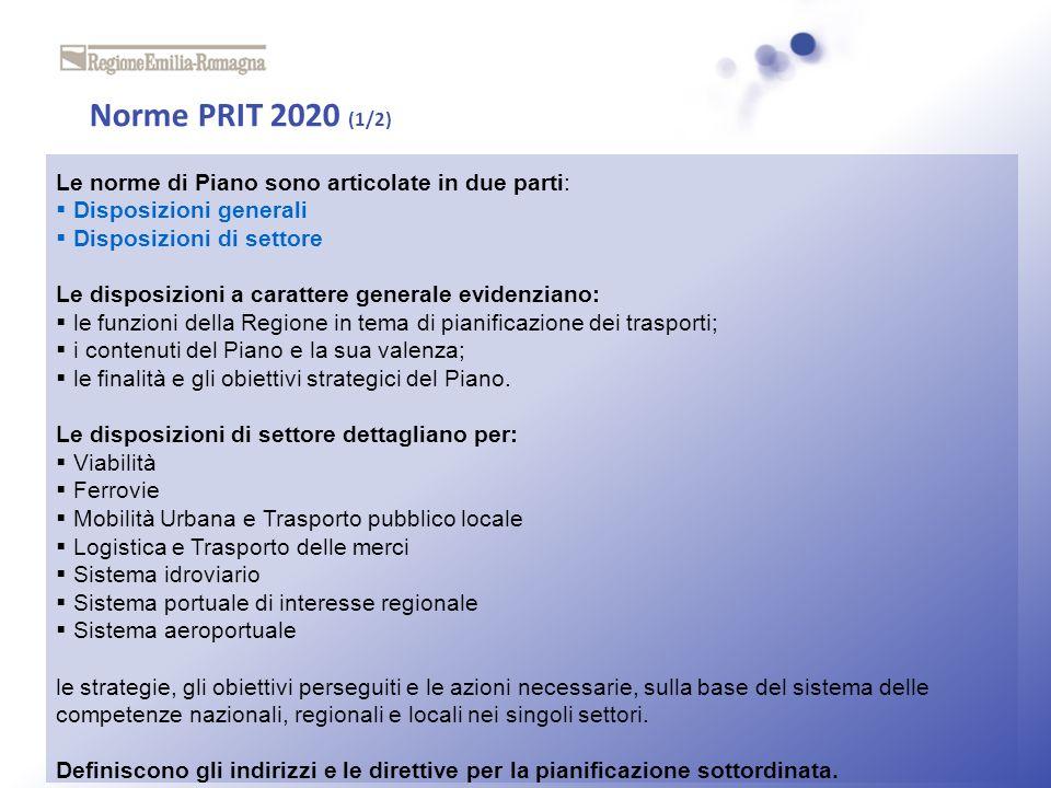Norme PRIT 2020 (1/2) Le norme di Piano sono articolate in due parti: