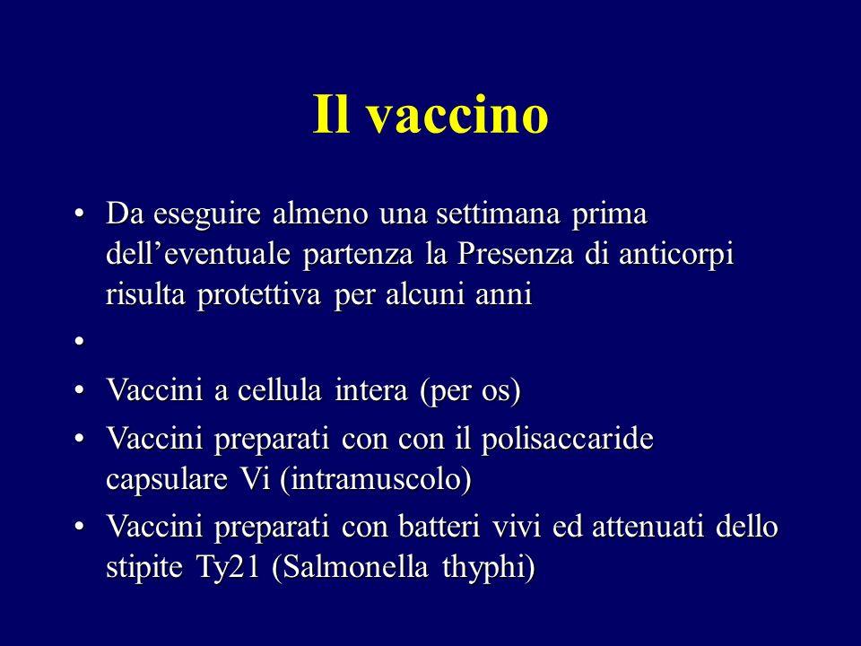 Il vaccino Da eseguire almeno una settimana prima dell'eventuale partenza la Presenza di anticorpi risulta protettiva per alcuni anni.