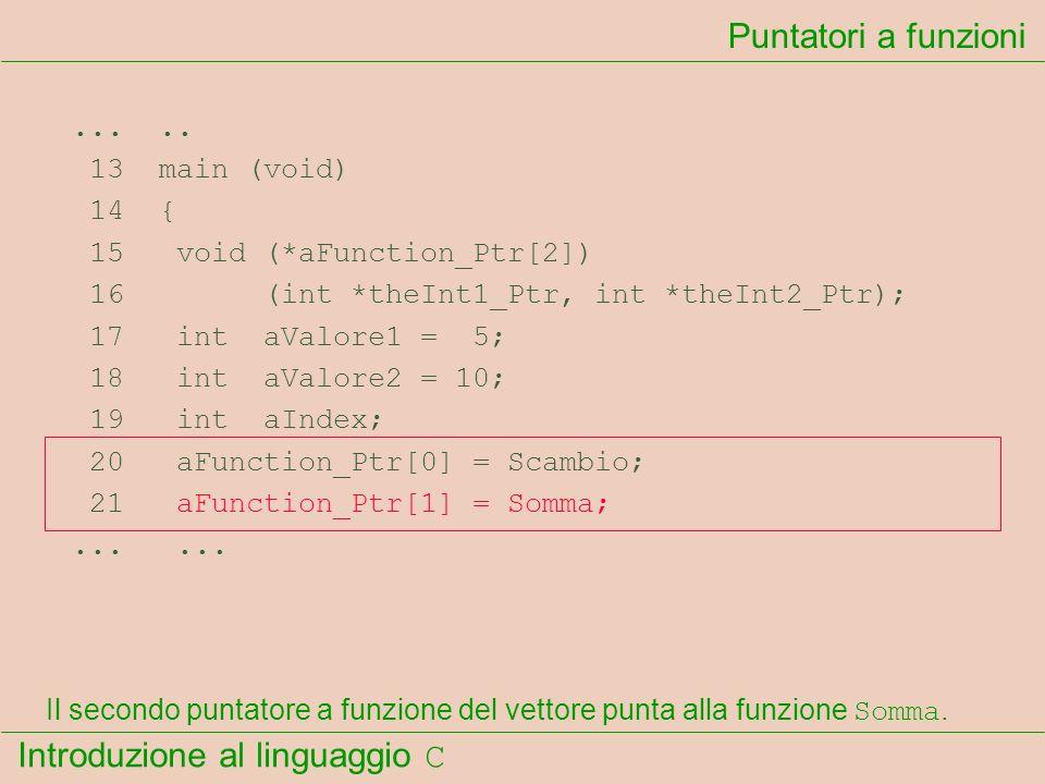 Puntatori a funzioni ... .. 13 main (void) 14 {