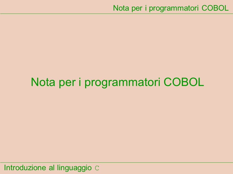 Nota per i programmatori COBOL