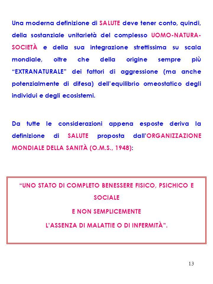 UNO STATO DI COMPLETO BENESSERE FISICO, PSICHICO E SOCIALE