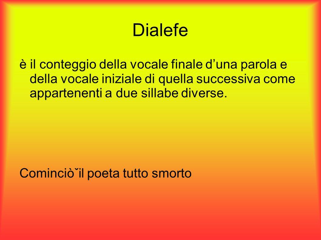 Dialefe è il conteggio della vocale finale d'una parola e della vocale iniziale di quella successiva come appartenenti a due sillabe diverse.
