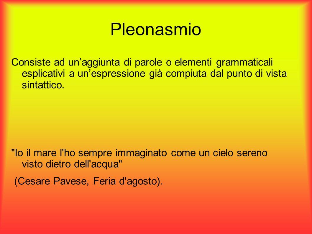 Pleonasmio Consiste ad un'aggiunta di parole o elementi grammaticali esplicativi a un'espressione già compiuta dal punto di vista sintattico.