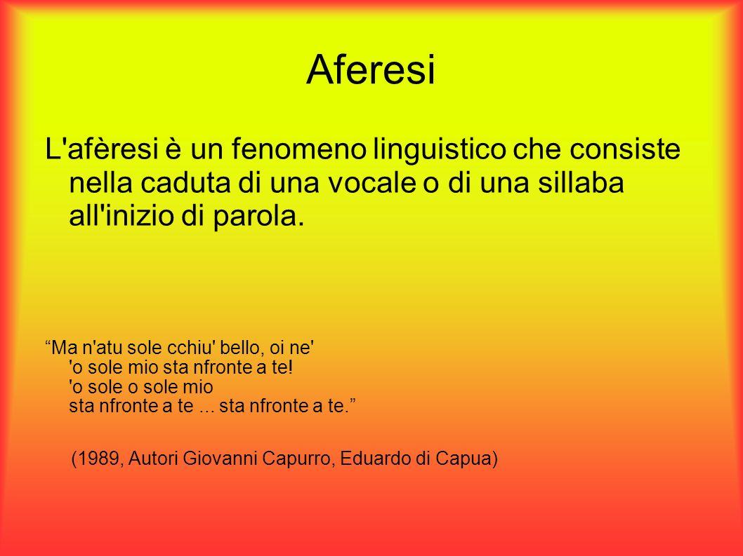 Aferesi L afèresi è un fenomeno linguistico che consiste nella caduta di una vocale o di una sillaba all inizio di parola.