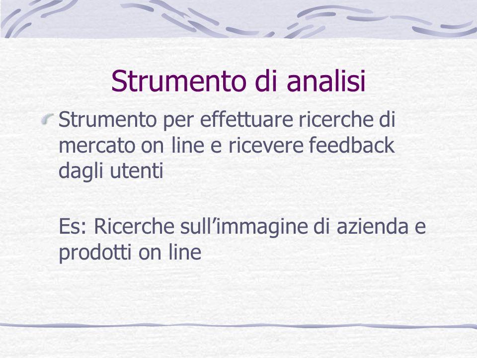 Strumento di analisi Strumento per effettuare ricerche di mercato on line e ricevere feedback dagli utenti.