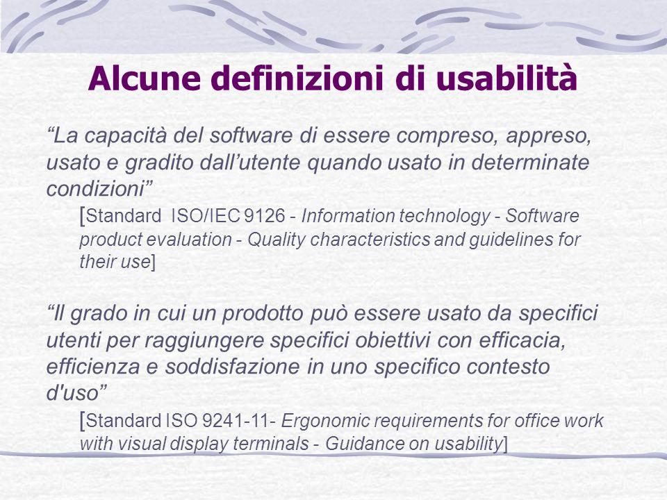 Alcune definizioni di usabilità