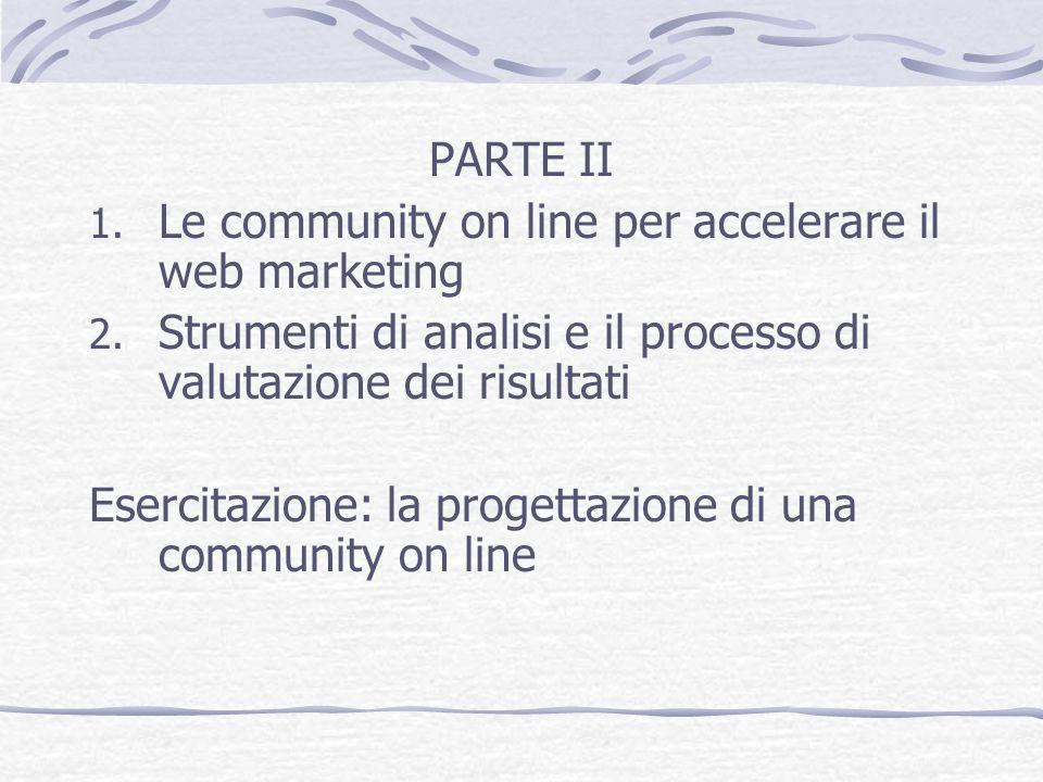 PARTE II Le community on line per accelerare il web marketing. Strumenti di analisi e il processo di valutazione dei risultati.