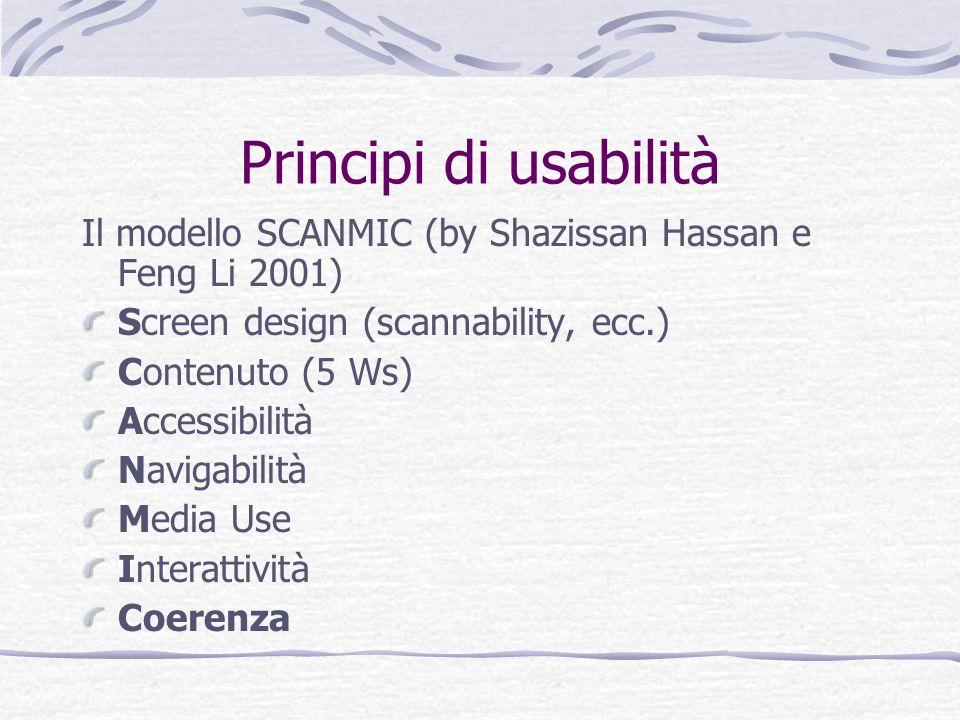 Principi di usabilità Il modello SCANMIC (by Shazissan Hassan e Feng Li 2001) Screen design (scannability, ecc.)