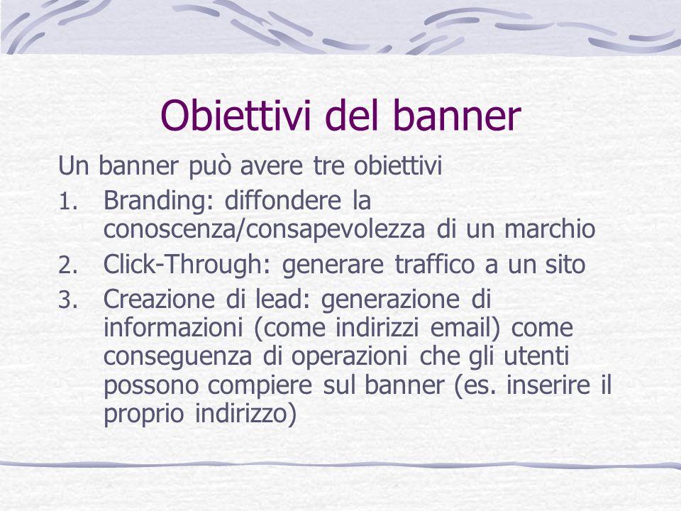 Obiettivi del banner Un banner può avere tre obiettivi