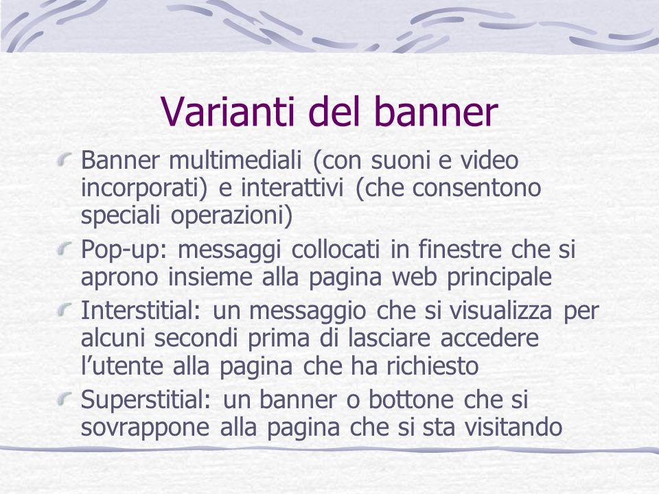 Varianti del banner Banner multimediali (con suoni e video incorporati) e interattivi (che consentono speciali operazioni)