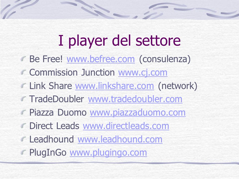 I player del settore Be Free! www.befree.com (consulenza)