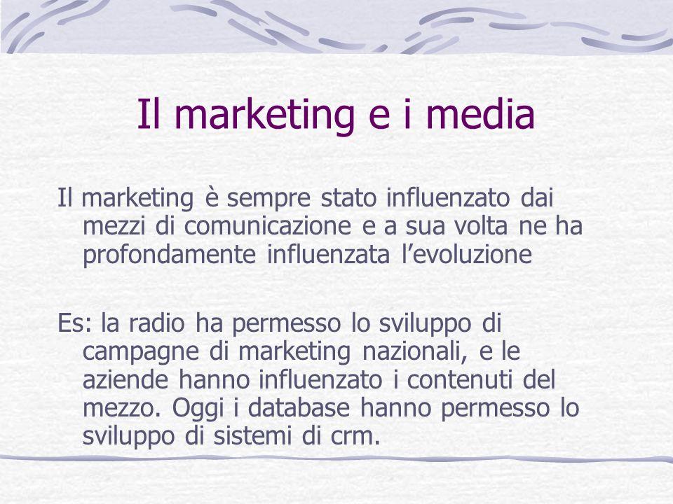 Il marketing e i media Il marketing è sempre stato influenzato dai mezzi di comunicazione e a sua volta ne ha profondamente influenzata l'evoluzione.