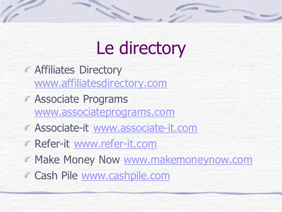 Le directory Affiliates Directory www.affiliatesdirectory.com