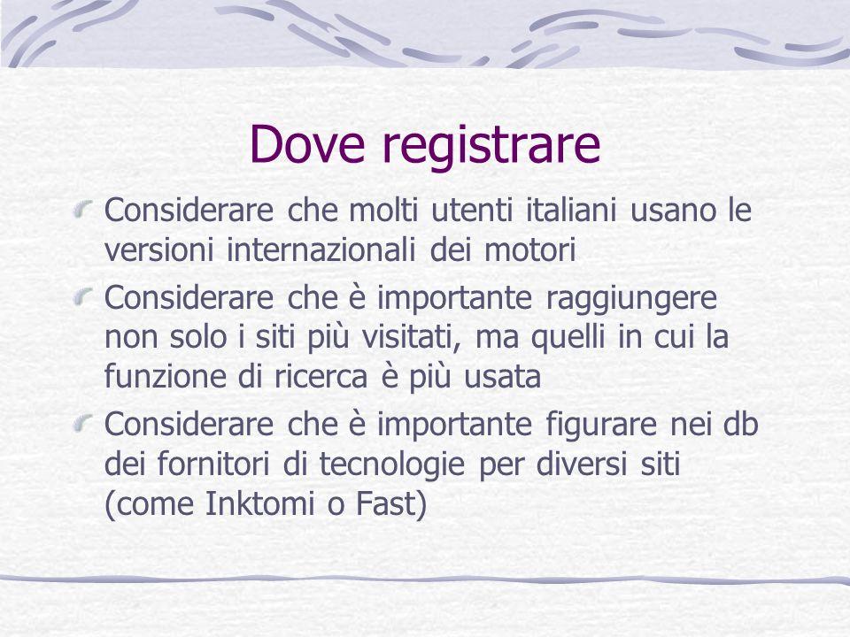 Dove registrare Considerare che molti utenti italiani usano le versioni internazionali dei motori.