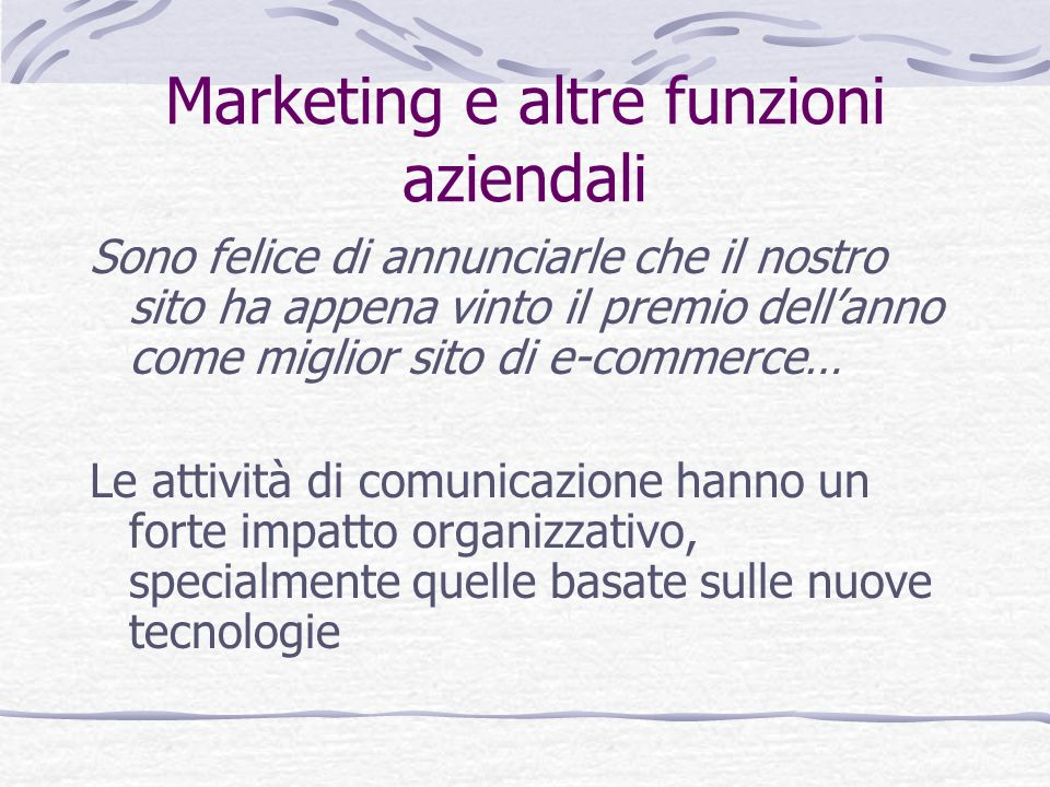 Marketing e altre funzioni aziendali